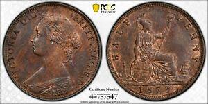 1873 1/2D GREAT BRITAIN HALF PENNY S-3956 PCGS MS64BN #42757547 HUGE EYE APPEAL!