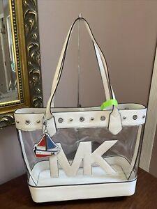 Michael Kors Tote Bag Large Montauk Transparent Clear PVC Leather $348  B2Y