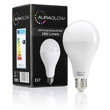 AURAGLOW 20w LED E27 Screw Light Bulb, Warm White 3000K, 1901 Lumen - 120w EQV