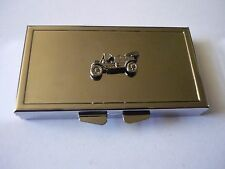 Vintage Car w29 English Pewter On Mirrored 7 Day Pill box Compact