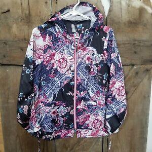 Chicos Nylon Hoodie Lightweight Jacket Floral Paisley zip up windbreaker small
