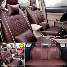 US 5-Seats Car Seat Cover PU Leather Front+ Rear Cushion W/Pillow Size L Coffee