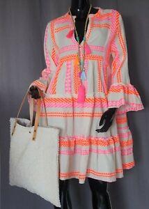 Hippie Tunika Stufen Hängerchen Italy Kleid Neon Orange Pink Beige 36,38,40 Neu