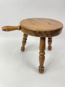Vintage Wooden Milking Stool Authentic 3 legged -  Handle