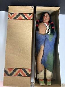 "Antique VINTAGE 1930s SKOOKUM INDIAN Doll BULLY GOOD MINT IN ORIGINAL BOX -16"""