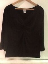 MIMI Maternity Top Black 3/4 Sleeve vneck knot detail in front Size M Medium