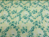 "Vintage Cream & Green ""Woodford"" Floral Printed 100% Cotton Curtain Fabric"