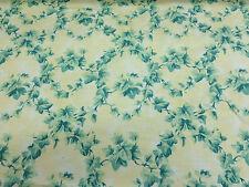 """Vintage Crema Y Verde """"Woodford"""" Estampado Floral 100% Algodón Tela De Cortina"""