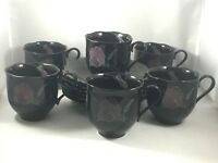 Mikasa Black Rondo TANGO 6 Tea Cups & 6 Saucers EJ 702 Scalloped Edge Lavender