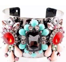 Aqua/Pink Gem Statement Bracelet Cuff •Party GIFT present  BIRTHDAY EVENING