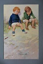 R&L Postcard: Children's Comic, SH & Co Lawson Wood, Swank, Cigar Smoking Boys