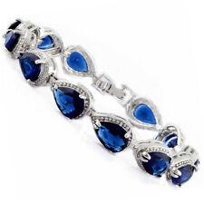 Fashion Pear Cut Blue Sapphire White Gold Plated Tennis Bracelet