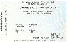 RARE / TICKET BILLET DE CONCERT - VANESSA PARADIS : LIVE A LILLE ( FRANCE ) 2001