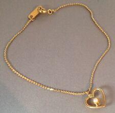bracelet  vintage fin délicat couleur or rodié coeur double face perle 4760