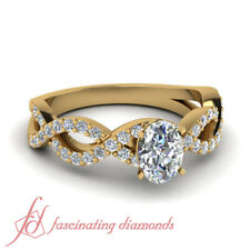 1.10 Carat Yellow Gold Oval Shaped Infinity Pave Diamond Womens Engagement Ring