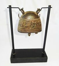 19C Burmese Well Casted Bronze Bell w Curvilinear Motifs on a Fitted Stand (Mor)