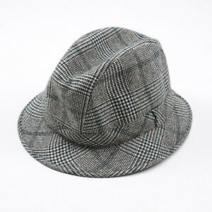 Kiton Gray and Green Check Cashmere Trilby Hat 7 1/4 (58cm) L NWT $950