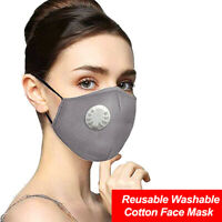 Face Mask Gray Cotton,Reusable,Washable,Adjustable Ear Straps w 2 PM2.5 Filters