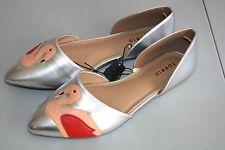 """""""Torrid"""" Flats~Silver~Flamingo Applique~12W~NWOB"""