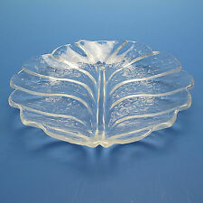 """Orrefors Sweden Crystal Salad Plate 8"""" Eden Leaf Pattern By Lars Hellsten XLNT"""