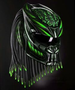 Custom Predator Helmet Black Green Top Symbol (APPROVED DOT/ECE)