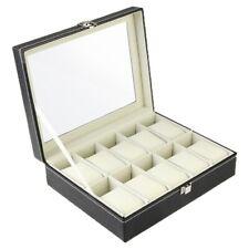 10 Grids Leather Wrist Watch Display Box Jewelry Storage Holder Organizer Case