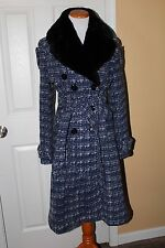 NWOT Roberto Musso Milan blue wool blend tweed flare skirt coat size IT 40 US S