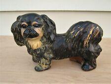 Vintage Carnival Prize Chalkware Pekingese Dog Figurine Statue