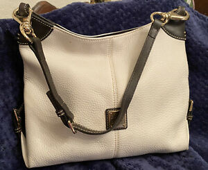 Dooney Bourke 1975 Large White Soft Pebbly Leather Satchel Handbag