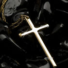 9K GF 9CT YELLOW GOLD FILLED SOLID CLASSIC SIMPLE CROSS PENDANT NECKLACE