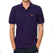 Para Hombre Adidas Originales Polo Piqué Púrpura Retro Trébol Superior Camiseta Algodón Tamaño