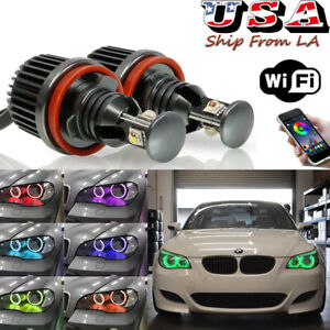 H8 RGB CREE Angel Eyes Halo Marker LED Bulbs For BMW E90 E92 E60 328i 335i M3 M5