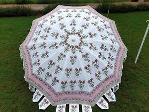 Indian Umbrella Garden Table Decorative Baby Pink Floral Pure Cotton Umbrella US