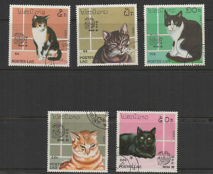Laos, Domestic Cat Breeds, 5 values fine used.