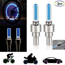 2Pcs  Fahrrad Auto Rad Reifen Reifen Ventilkappe LED Neon Blitzlampe Blue Light