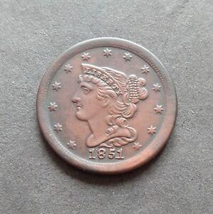 1851 Braided Hair Half Cent USA