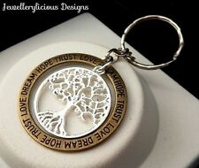 Beautiful Two Tone Love Dream Hope Trust Tree Of Life Sentiment Keyring Key Ring
