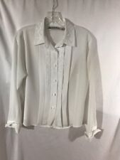 Yves St. Clair Petites 10 Petite White Long Sleeve Blouse Pleats & Embroidery