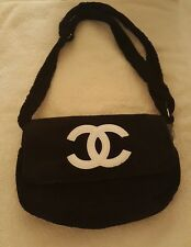 CHANEL Precision Terry Velour shoulder Bag Pouch fluffy Black white soft Beaute