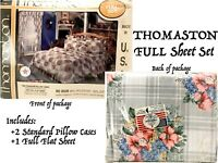 Vtg Full Sheet Set Flat 2 Pillow Case Scarborogh Percale Double Deadstock Floral