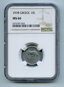 GREECE 1978 10 Lepta KM# 113 NGC MS66 -GAJ #2