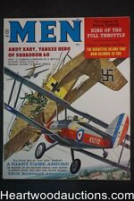 Men Feb 1960 Kunstler Biplane Dogfight Cover, James Bama, Cohen, Copeland, Stanl