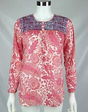 J Crew Womens Top Pink Blue Floral Printed Embroidered Placket Boho Tunic Sz XS