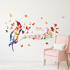 Color Feather Music Room Home Decor Removable Wall Stickers Decals Decorations