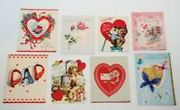 VTG 50's 60's Valentine's Day Folded Card Lot of 8 FATHER Designs Used Scrapbook