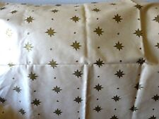 "METALLIC GOLD STARS ON BEIGE COTTON UPHOLSTERY FABRIC - WAVERLY - 66"" x 56"""