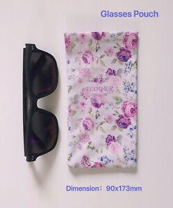 Faux Leather Sunglass Eyeglasses Glasses Snap Shut Soft Pouch - Roses