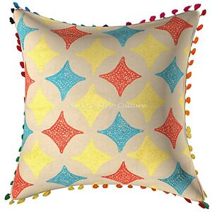 Indian Cotton Throw Pillow Multi Color Embroidery  Geometrical Cushion Cover