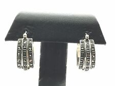 Vintage Art Deco Sterling 925 Marcasite Triple Layer Row Huggie Hoop Earrings