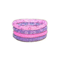 Pink and Purple Flower Seed Beads Bracelet Set roll on your wrist, Made in Nepal